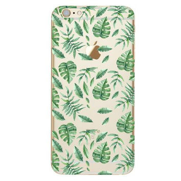 Delicate Green Leaves on White Background Phone Case For iPhone 7 7Plus 6 6s Plus 5 5s SE