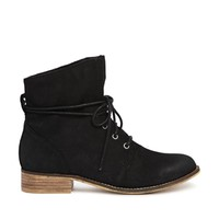 ALDO Perforated Black Lace Ankle Boots - Black nubuck