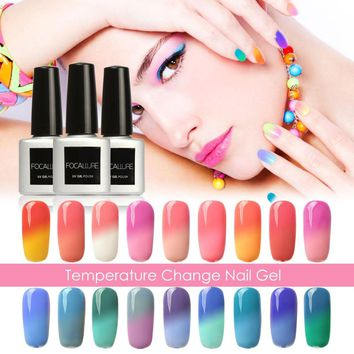 FOCALLURE Newest Color Nail Gel Polish Thermal Temperature Changing Color UV Gel Nail Polish Soak Off Led UV Nail Gel Lacquer