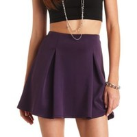Box-Pleated High-Waisted Skater Skirt - Dark Purple