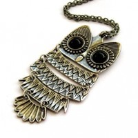 Alloy Metal Acrylic Diamond Owl Pendant Necklace