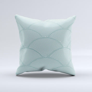 Teal Circle Polka Pattern ink-Fuzed Decorative Throw Pillow