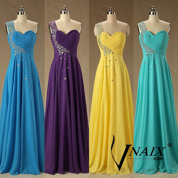 2015 Evening Dress A Line One Shoulder Chiffon Yellow Purple Long Crystal Prom Dresses 2015 Bridesmaid Dresses