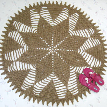 Round Sun Motif Jute Rug - Hippie Decor - Natural Rug - Eco Friendly - Southwestern Decor - Rustic Decor - Tex Mex - Doily