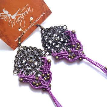 Extra long lilac Hippie-chic handwoven earrings long pendants boho bohemian macrame gypsy woodland elf