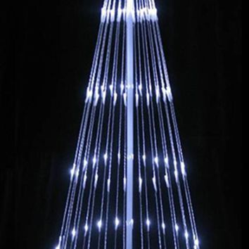 9' Pure White LED Light Show Cone Christmas Tree Lighted Yard Art Decoration