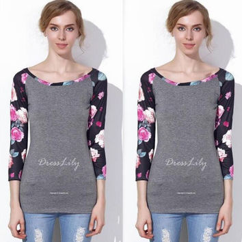 Gray Floral Printed Sleeve T-Shirt