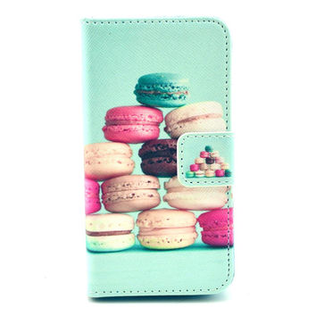 Leather Colorful Pastry Flip Case Cover For iphone 5c With Card Holder