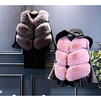 Baby Autumn Winter Vest Waistcoat Children's Fur Vest Boys Girls Imitation Fur Coat Kids Faux Fur Fabric Clothes Fur Vest F70