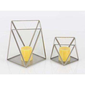 Magnificent metal glass candle holder, set of 2