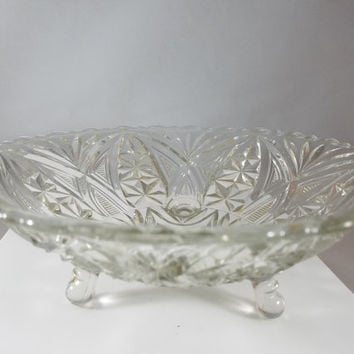 Footed Pressed Glass Bowl (996)
