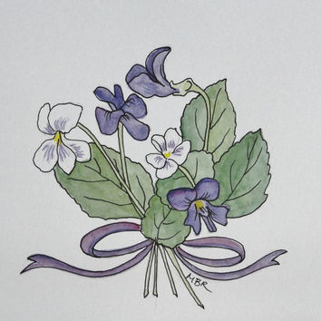 Mother's Day Violets Watercolor Ink Spring by maryrichmonddesign