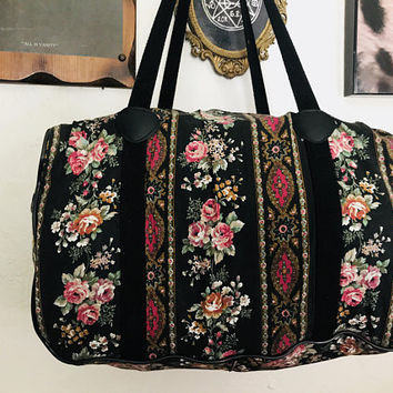 Vintage Black Fl Duffel Bag Cute Retro Pink Rose Flower Ov
