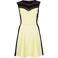 Black lime panel sleeveless skater dress  - skater dresses - dresses - women
