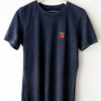 Cherry Relaxed Tee - Acid Wash Black
