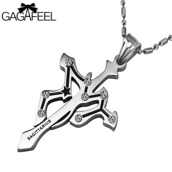GAGAFFEL Vintage Men Women Titanium Stainless Steel Cross Zodiac Sagittarius Pendant Necklaces Stone Crystal Fine Jewelry