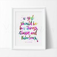 Classy & Fabulous Chanel Quote Watercolor Art Print
