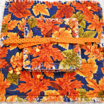 Autumn Leaves Rag Quilt Candlemat and Coaster Set, Thanksgiving, Handmade