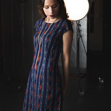 Ikat Mini Dress Blue
