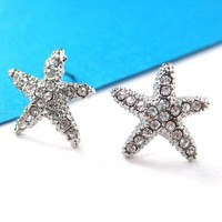 Small Starfish Star Shaped Stud Earrings in Silver with Rhinestones