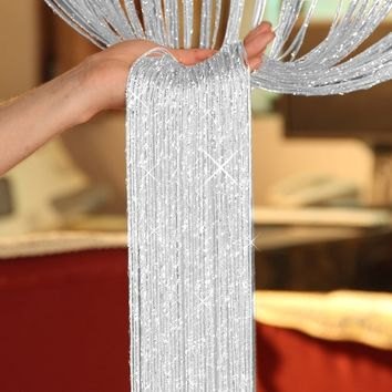 New 200cm*100cm Fly Screen Fringe Tassel Curtain String Sparkle Curtains Room Divider Door Window Decor