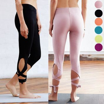High Waist Women Sporting Leggings Sexy Bandage Mid Calf Leggins Fitnes Gymnastics Active Pants 6 Candy Color Solid Jeggings
