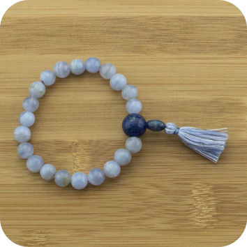 Blue Lace Agate Mala Beads Bracelet with Lapis Lazuli