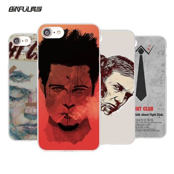 BiNFUL Fight Club Brad Pitt stylish Style hard White Mobile phone shell Case for Apple iPhone 7 7Plus 6s 6 Plus SE 5 5s 5C 4 4s