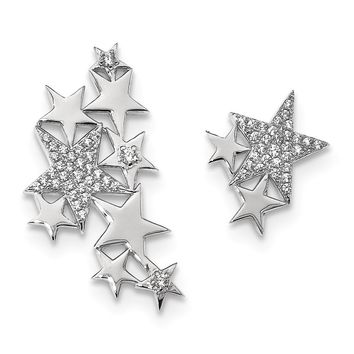 Rhodium-Plated Sterling Silver CZ Stars 1 Ear Climber & 1 Stud Earring