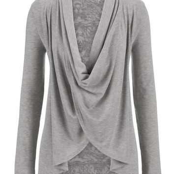 Patterned Back Drape Wrap Front Top - Gray