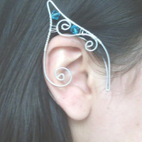 Silver Plated Handmade Wire Wrapped Elf Ear Cuffs With Teal Swarovski Elements, Mermaid Earcuffs, Pixie Ear Cuffs LARP