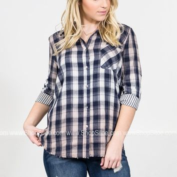 Dear John Navy Plaid Top