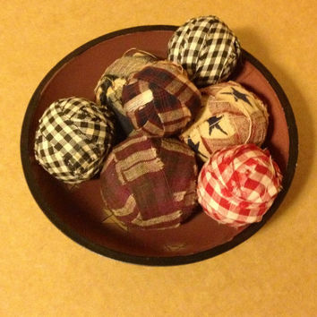 Rag Balls in Star Bowl, Hand Torn and Wrapped