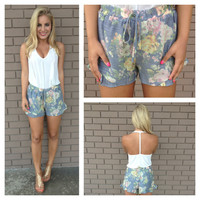 Blue Vintage Floral Ruffle Shorts