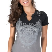Afflicition® Women's Grey Ombré Temple of Doom Embellished Short Sleeve V-Neck Tee