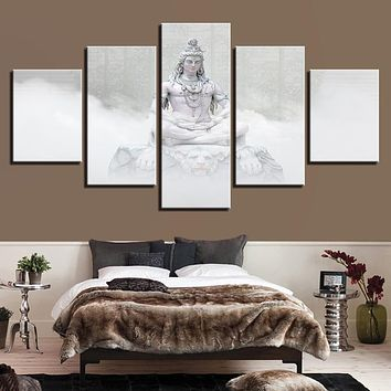 Canvas Wall Art Poster Living Room Home Decor 5 Pieces Hindu Gods Shiva Paintings HD Prints Hinduism Pictures Modular Framework