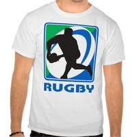 Rugby player passing ball front t shirts
