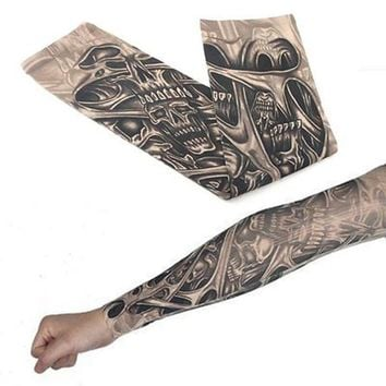 1pc Nylon Tattoo Sleeve Floral Arm Tattoo Sleeve 47cm Sun Protect Fake Temporary Tattoo Arm Sleeves Winter Warm