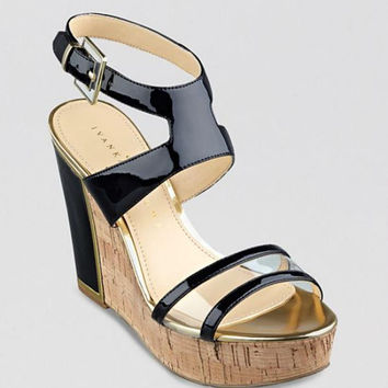 IVANKA TRUMP Open Toe Platform Wedge Sandals - Hagley