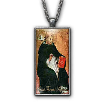 Saint Thomas Aquinas Painting Religious Pendant Necklace Jewelry