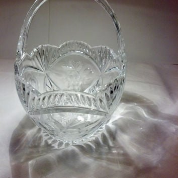 Crystal Cut Glass Basket - Lovely Crystal Basket - Collectible - Bride's Basket - Wedding Decor - Candy Dish - Cottage Chic - Shabby Chic