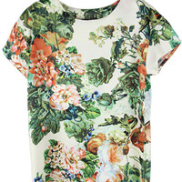 ROMWE | Floral Print Cream-Coloured T-Shirt, The Latest Street Fashion