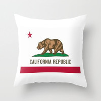 California Throw Pillow the Golden State Pillow Flag Decorative Pillow California Pillow Bear Pillow Decorative Home Red Star Green Brown