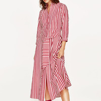 STRIPED SHIRT-STYLE TUNIC