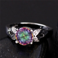 1PC 925 Sterling Silver Multicolor Cubic Zirconia CZ Women's Party Finger Ring US SIZE