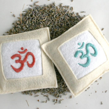 om - lavender sachets, hand embroidered, ecofriendly, deodorizer, air freshener, moth repellant (set of 2)
