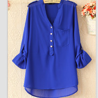 PURE COLOR SLEEVE V-NECK SHIRT LONG SLEEVE CHIFFON UNLINED UPPER GARMENT