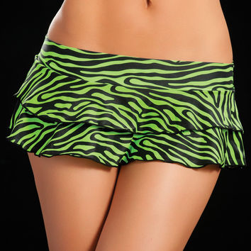 Double Layered Green Zebra Animal Print Ruffle Skirt