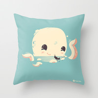 Adorable Octopus Battle Throw Pillow by Ryder Doty