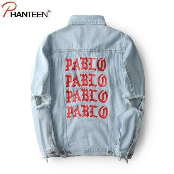 Kanye West Yeezy The Life Of Pablo Man Jacket Denim Letter Print Ripped Hole Vintage W